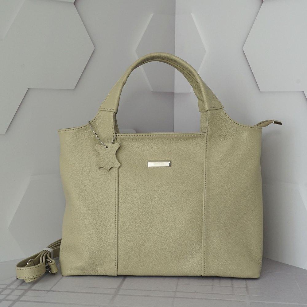 Кожаная женская сумка №214 темно бежевая