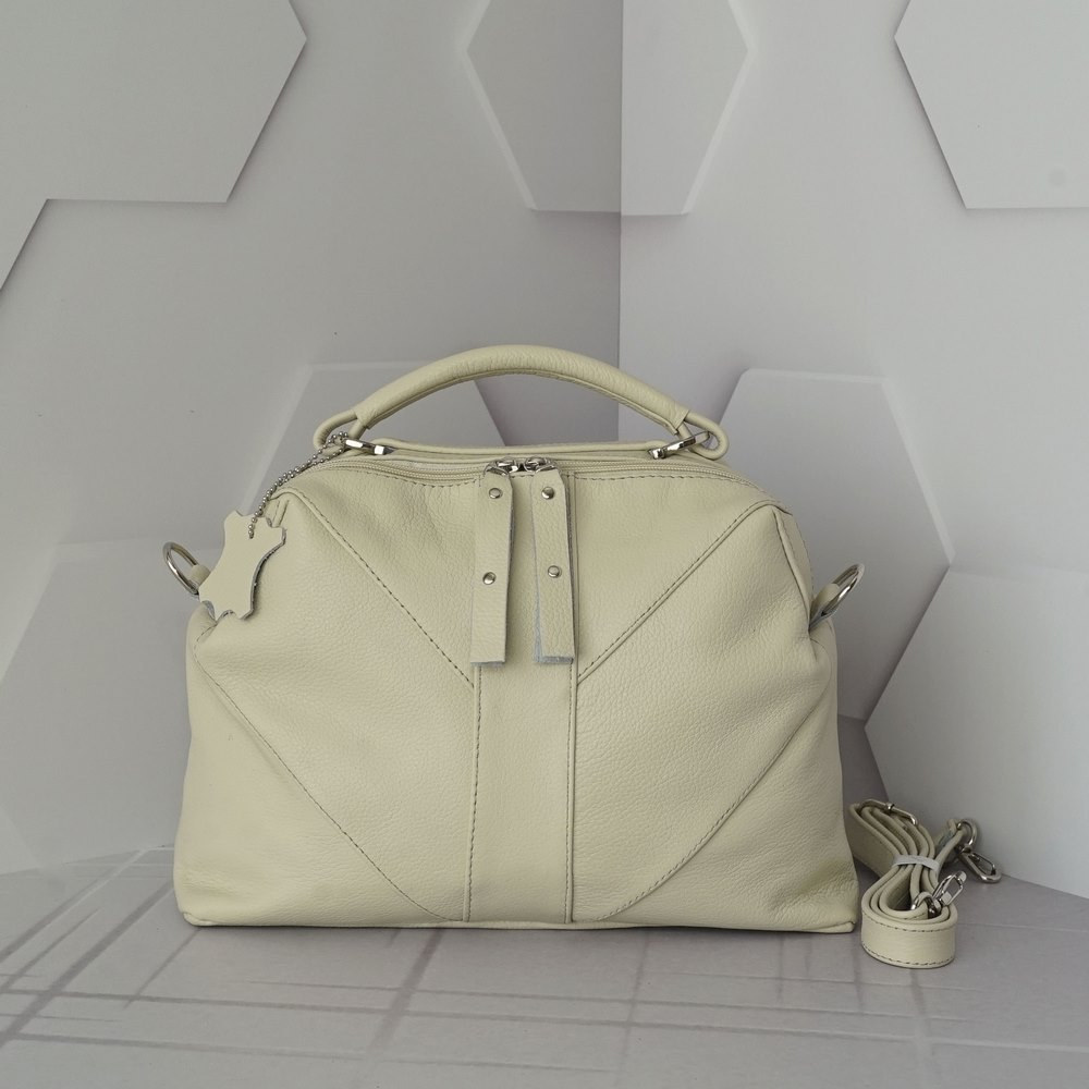Кожаная женская сумка №220 бежевый