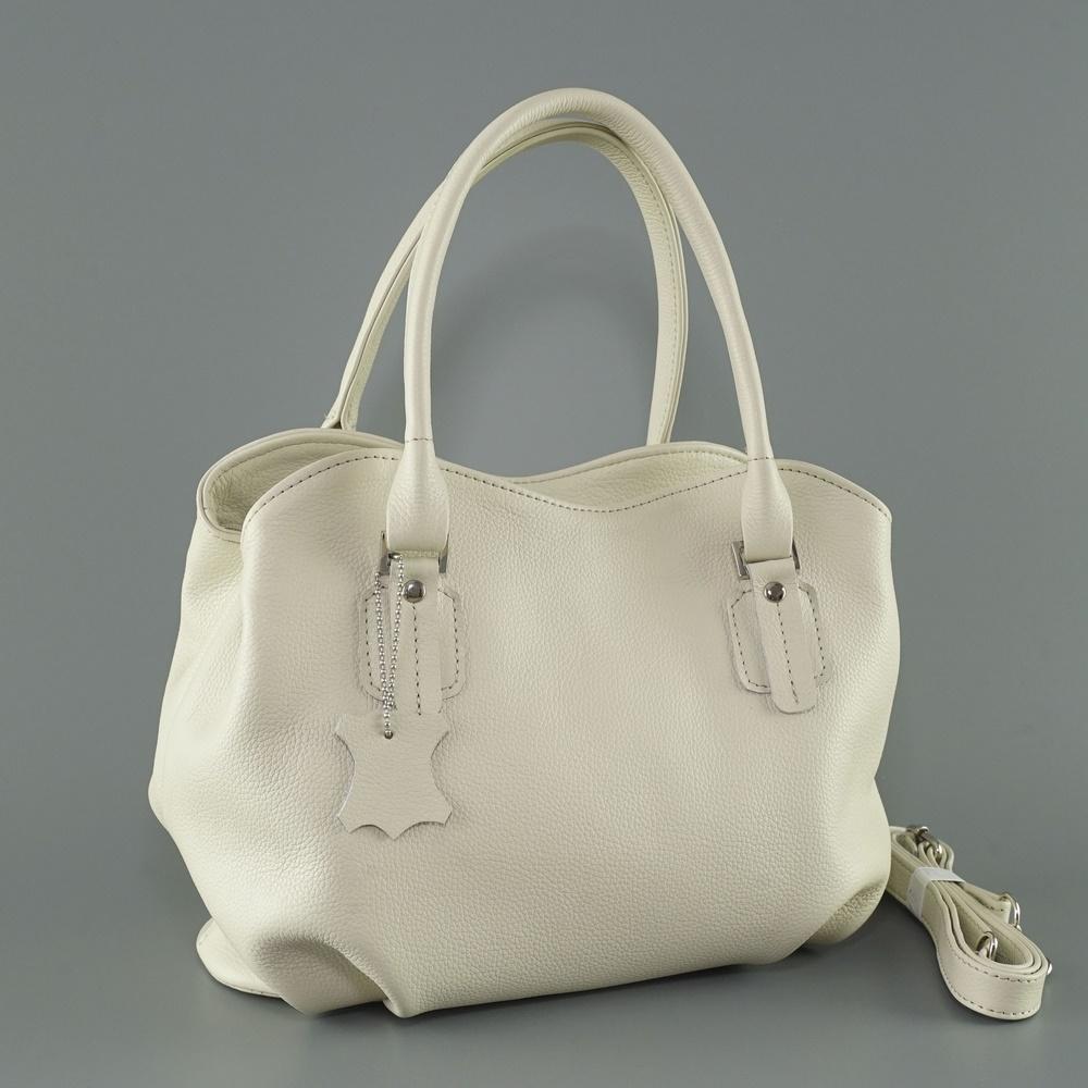 Кожаная женская сумка №241 бежевая