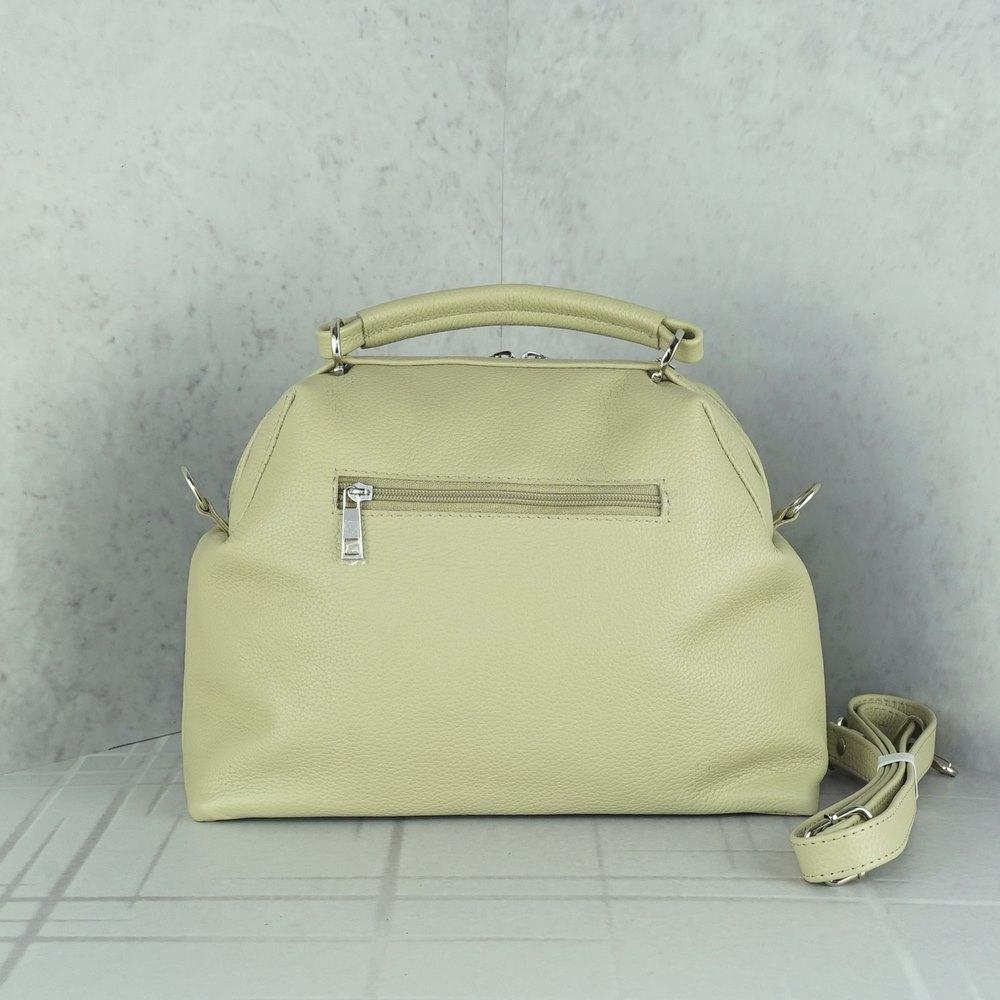 Кожаная женская сумка №243 классическая бежевая