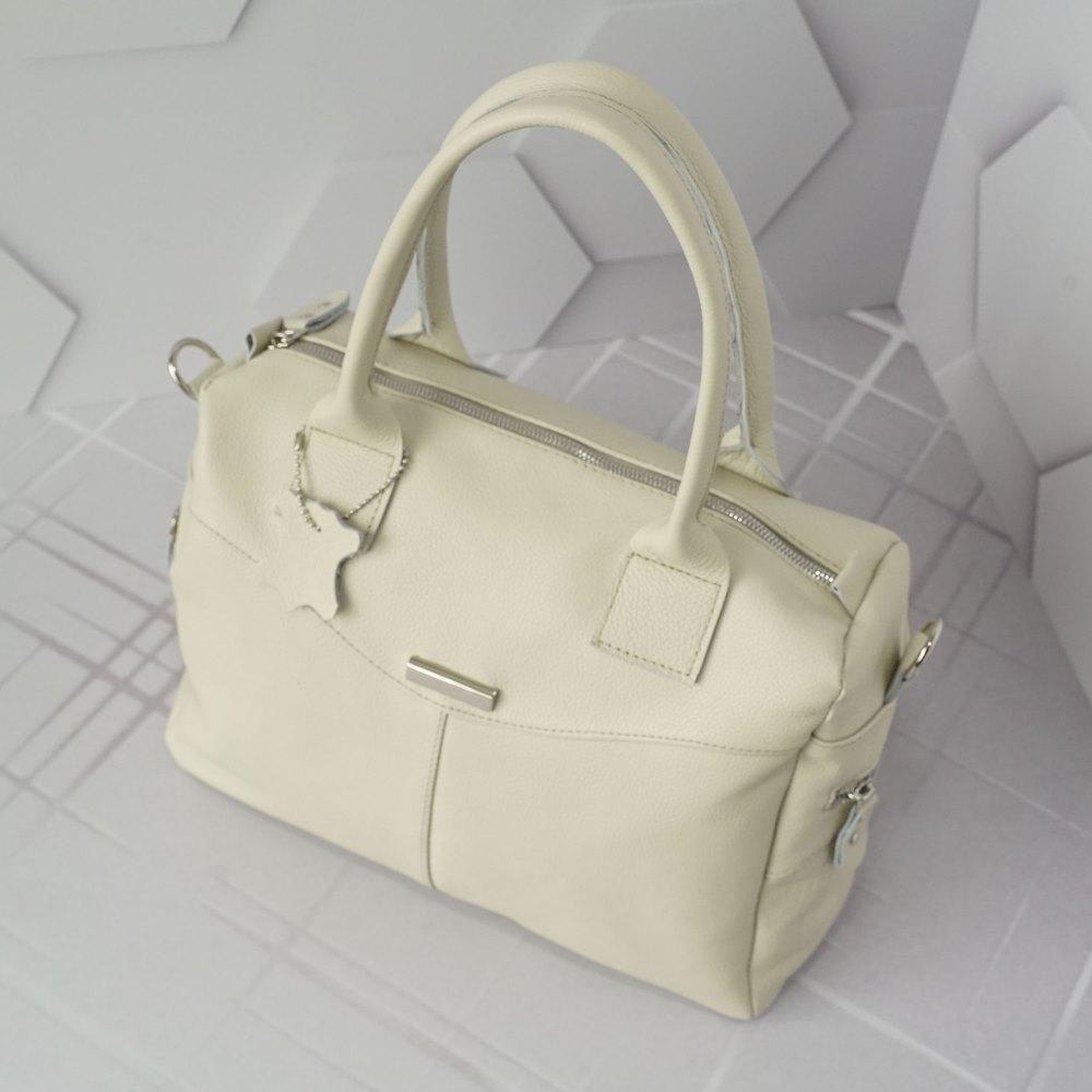 Кожаная женская сумка №245 бежевая
