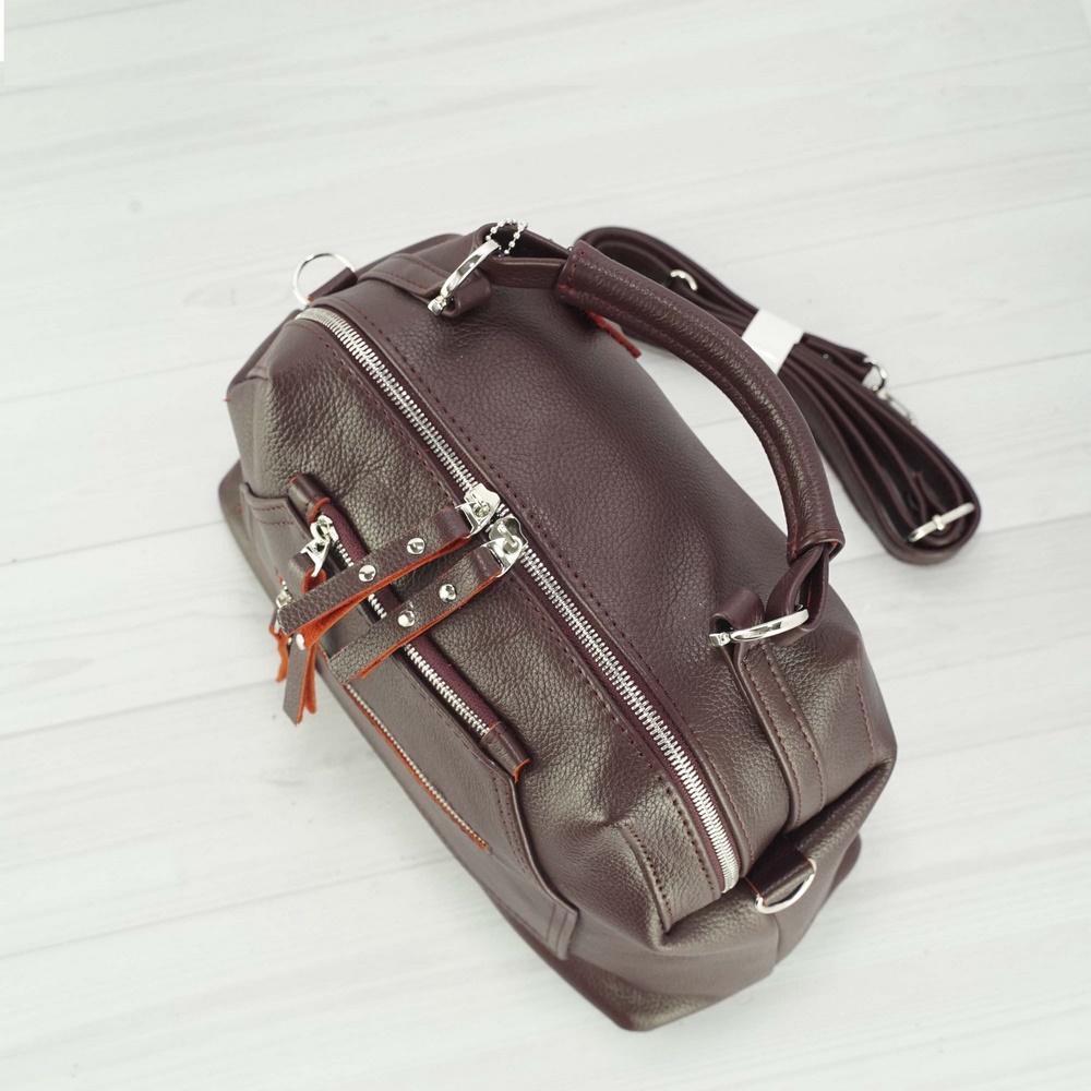 Кожаная женская сумка №233 бордо