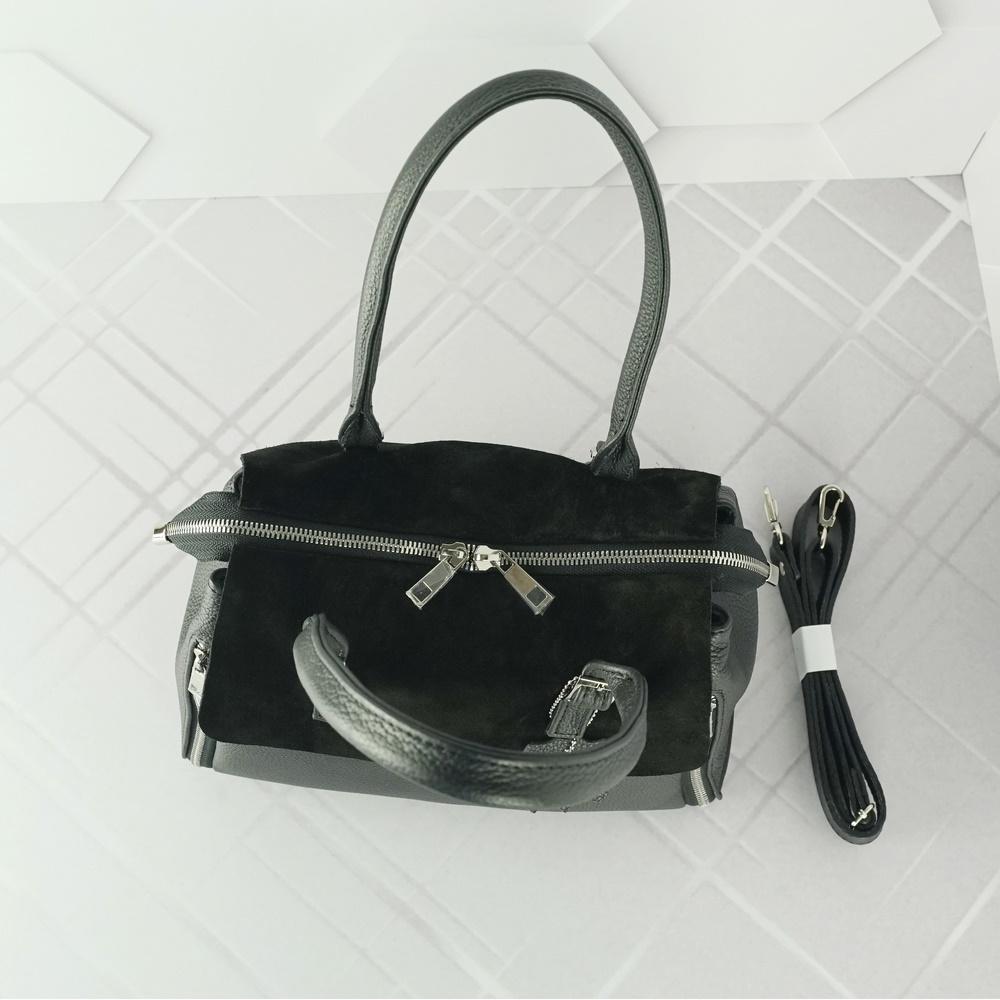 Кожаная женская сумка №204 черная
