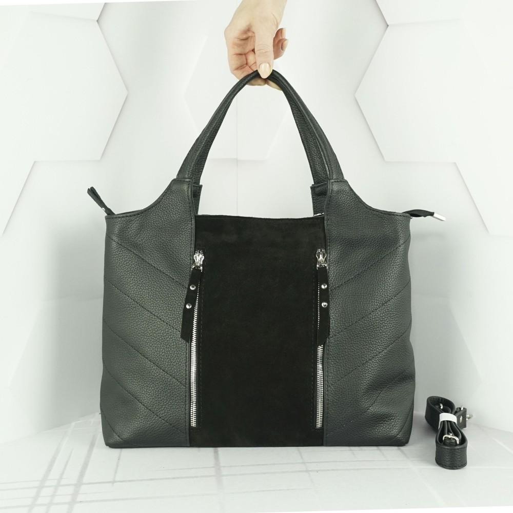 Кожаная женская сумка №214 черная с замшем