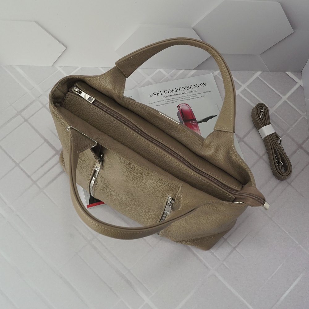 Кожаная женская сумка №214 пудра