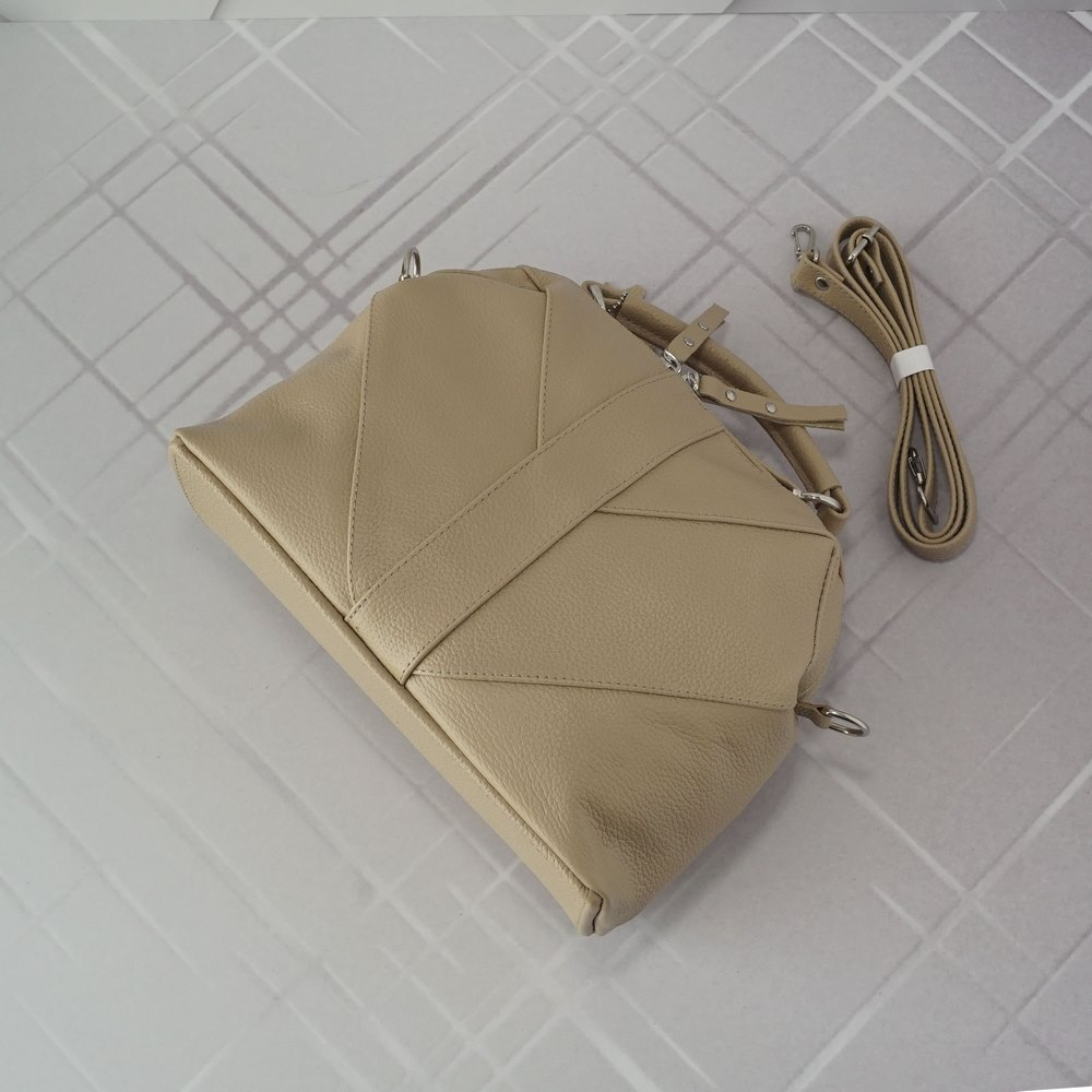 Кожаная женская сумка №220 пудра