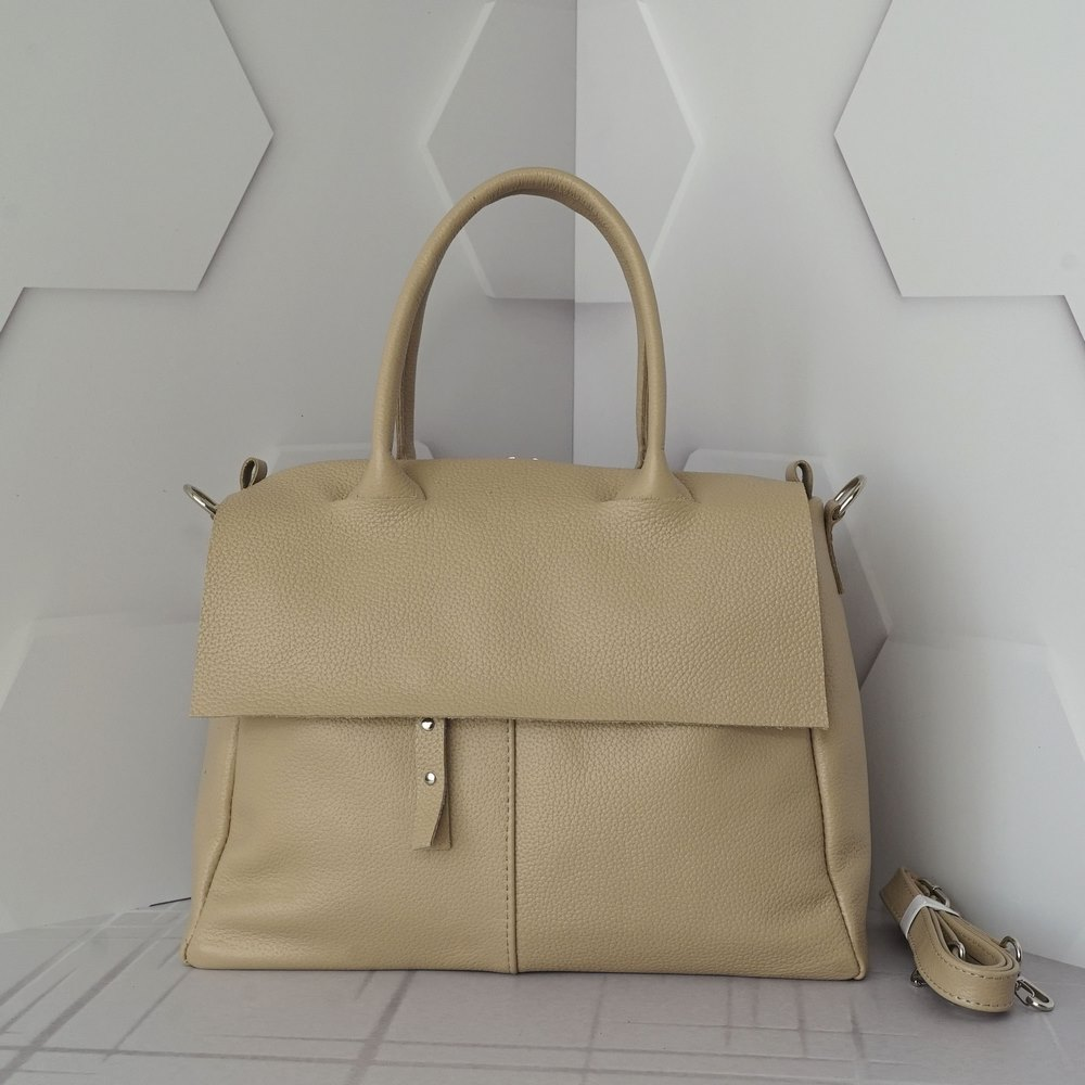 Кожаная женская сумка №232 пудра