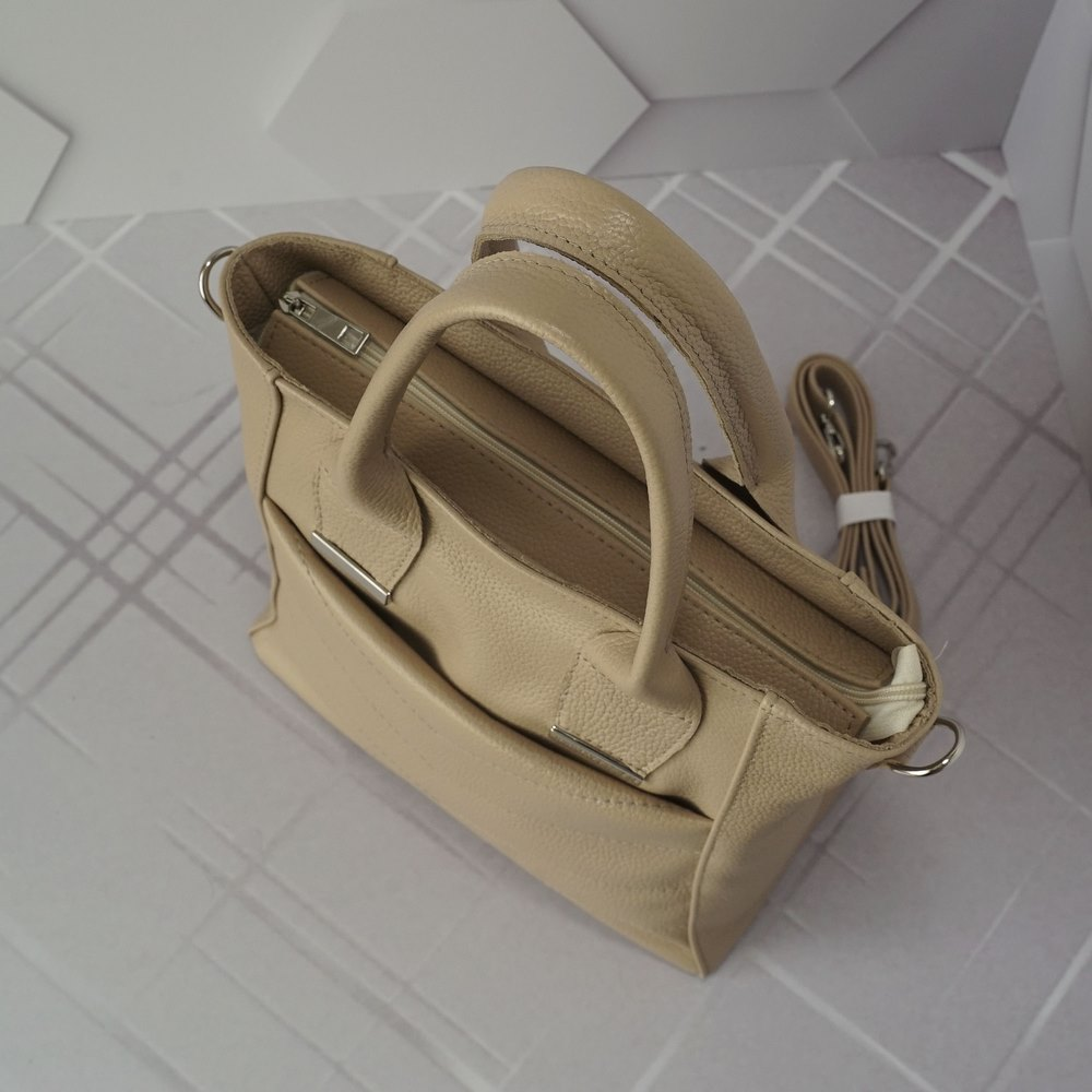 Кожаная женская сумка №237 пудра