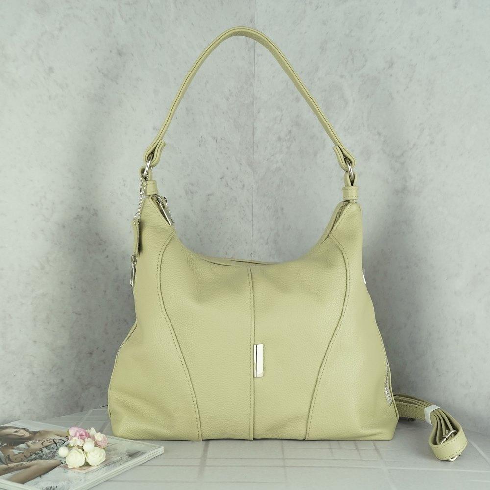 Кожаная женская сумка №236 бежевая