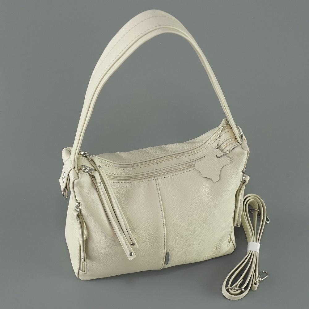 Кожаная женская сумка №238 бежевая