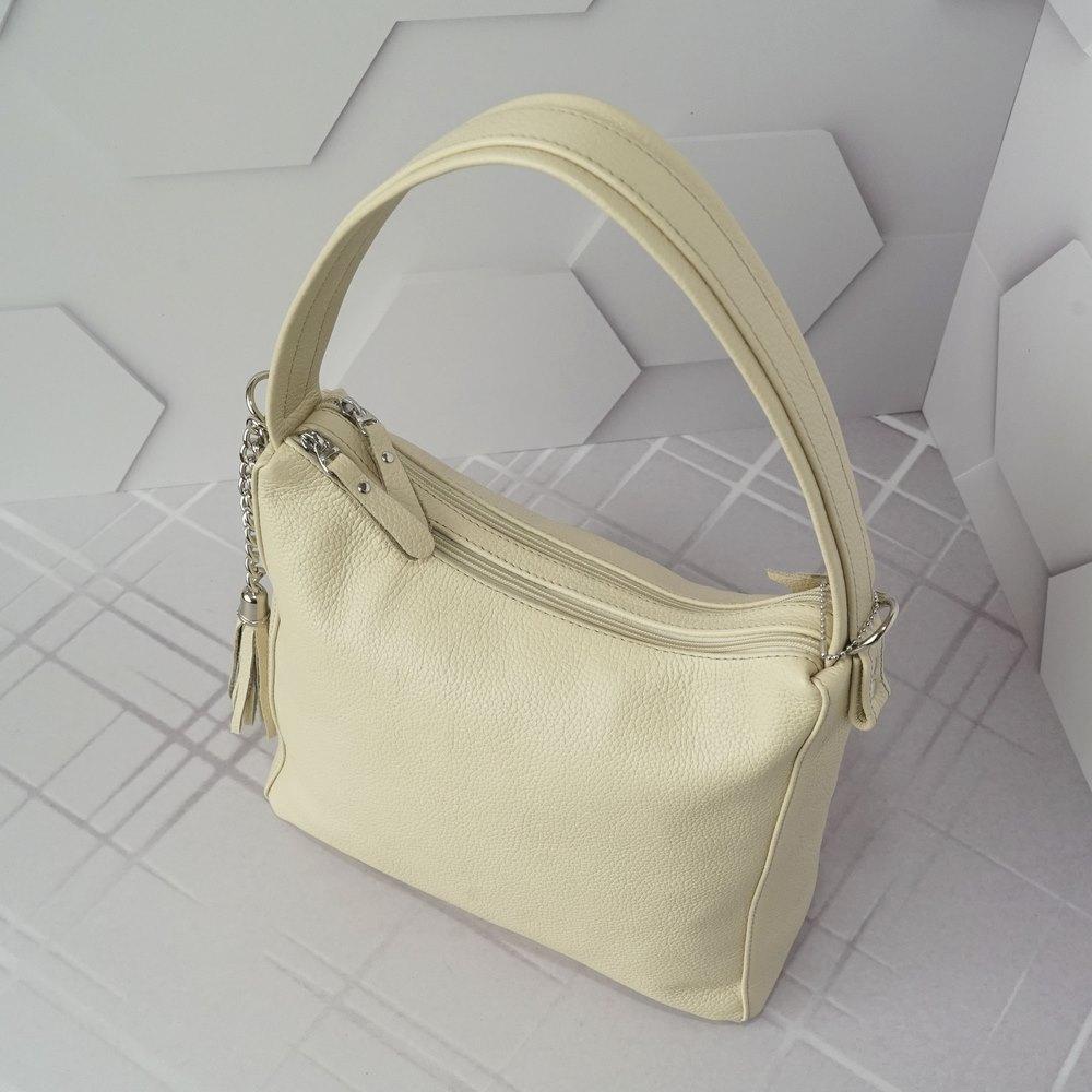 Кожаная женская сумка №247 бежевая