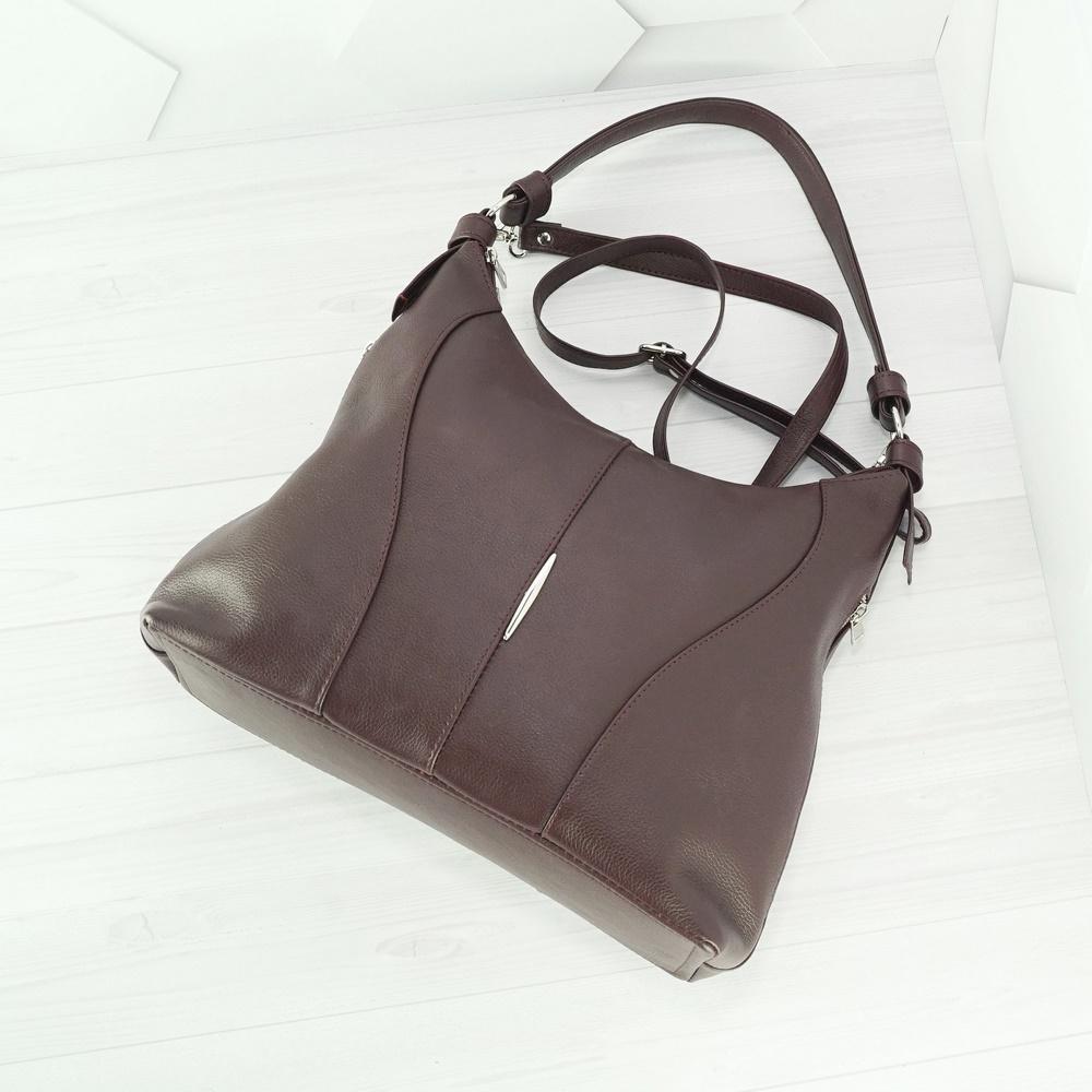 Кожаная женская сумка №236 бордо