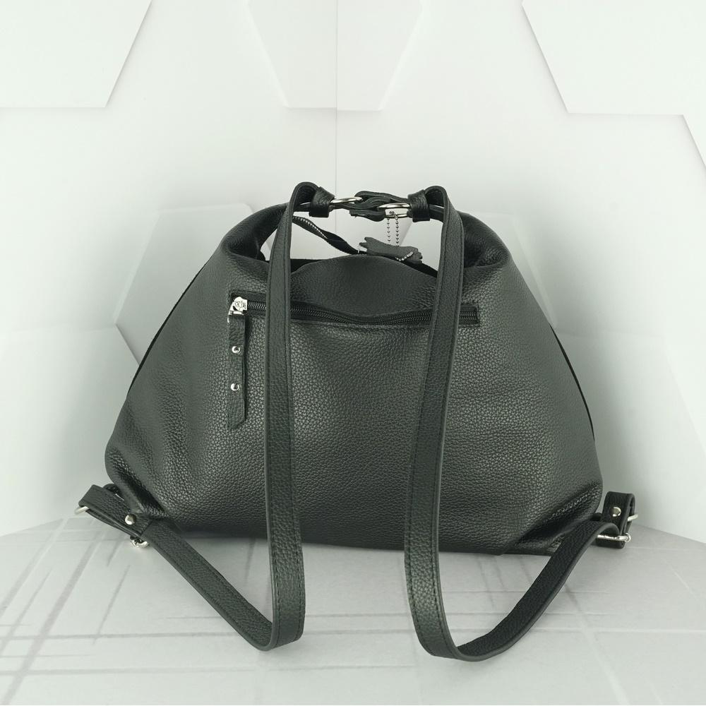 Кожаная  сумка-рюкзак №208 черный