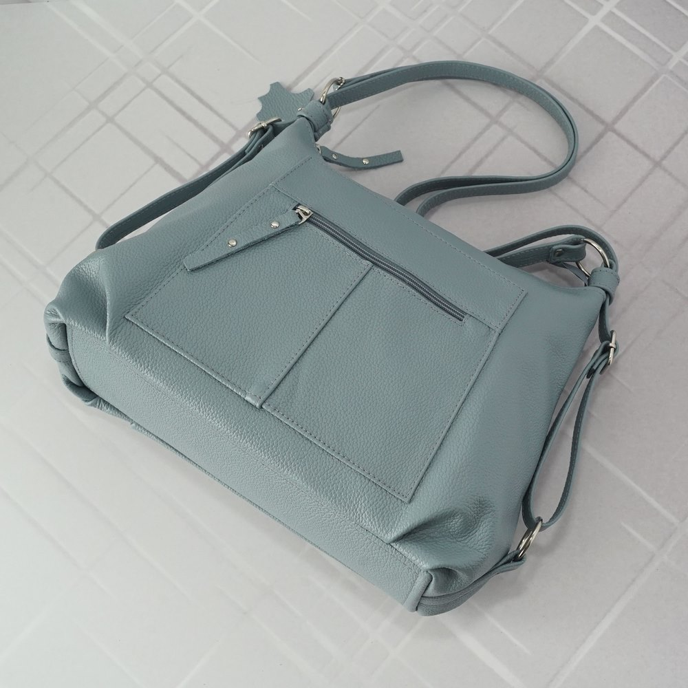 Кожаная  сумка-рюкзак №208 серо голубая