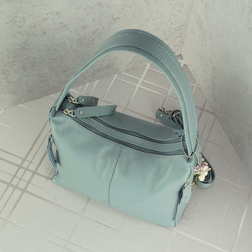 Кожаная женская сумка №238 серо голубая