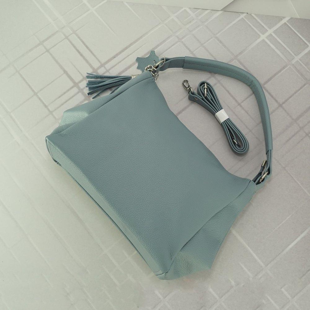 Кожаная женская сумка №249 серо голубая