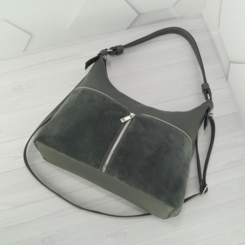 Кожаная женская сумка №235 серый
