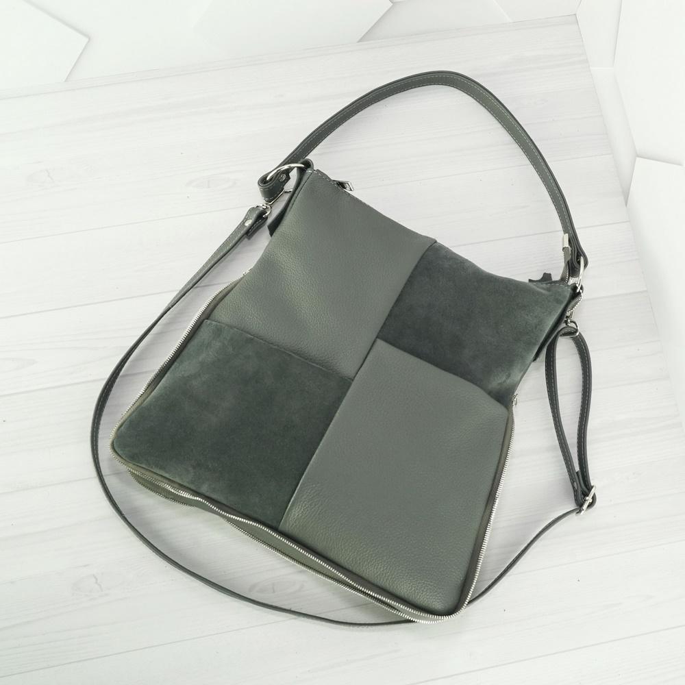 Кожаная женская сумка №234 серый