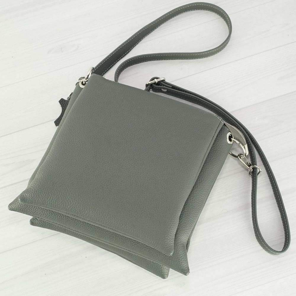 Женский кожаный клатч №231 серый