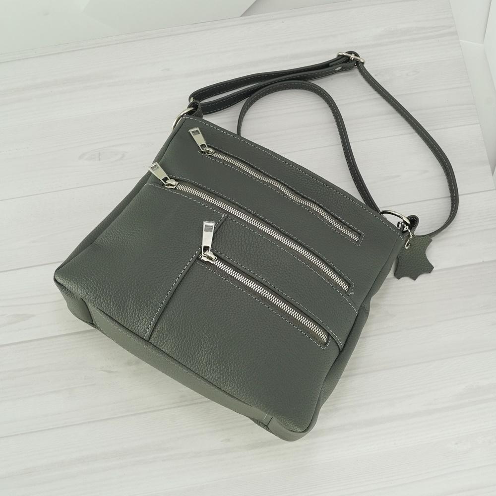 Женский кожаный клатч №240 серый
