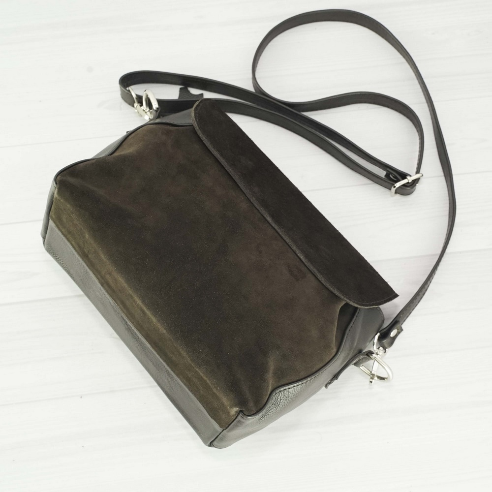 Женский кожаный клатч №229 коричневый с замшем
