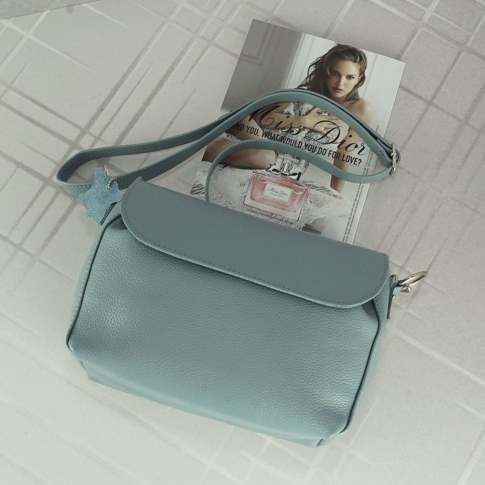 Женский кожаный клатч №229 серо голубой