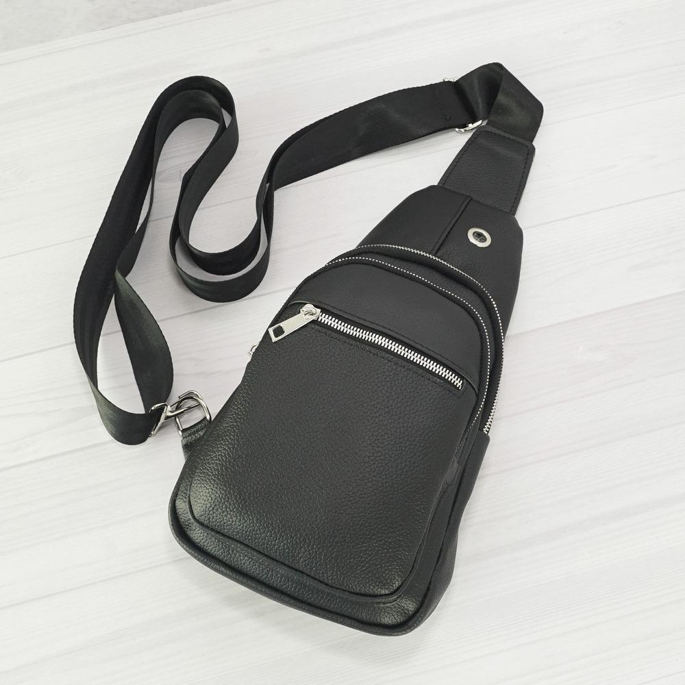 Кожаная мужская сумка рюкзак №1005-2 черный