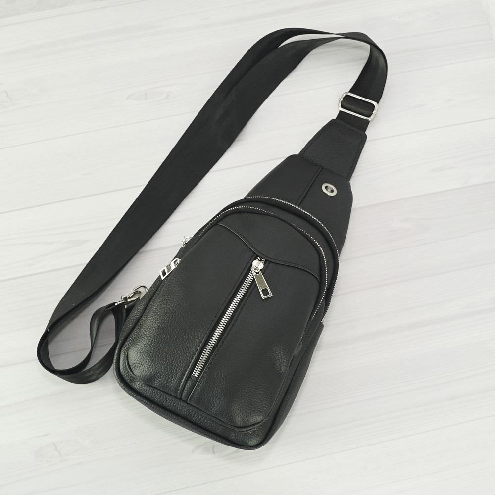 Кожаная мужская сумка рюкзак №1005-3 черный