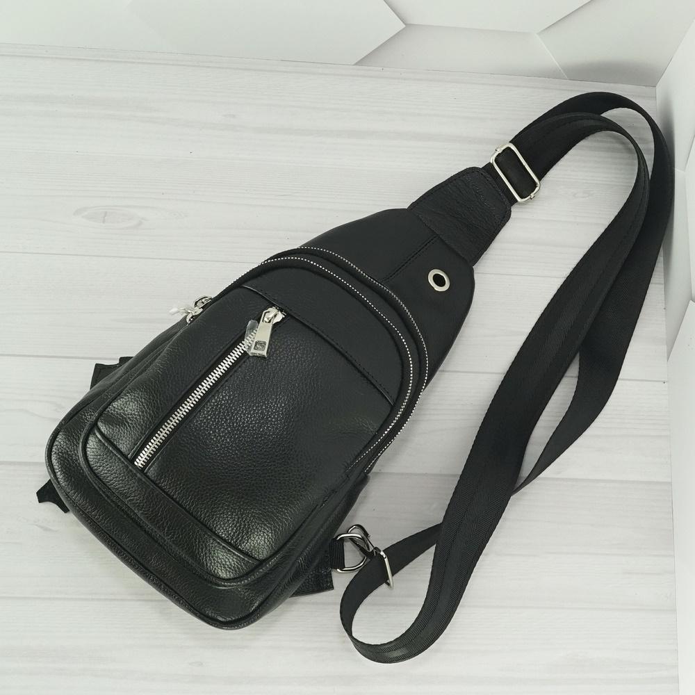 Кожаная мужская сумка рюкзак №1005 черный