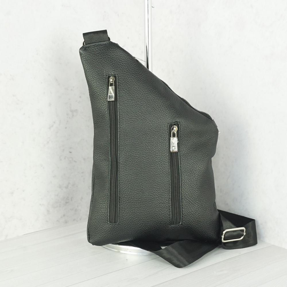 Кожаная мужская сумка рюкзак №1006 черный