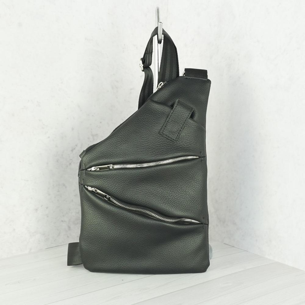 Кожаная мужская сумка рюкзак №1007 черный