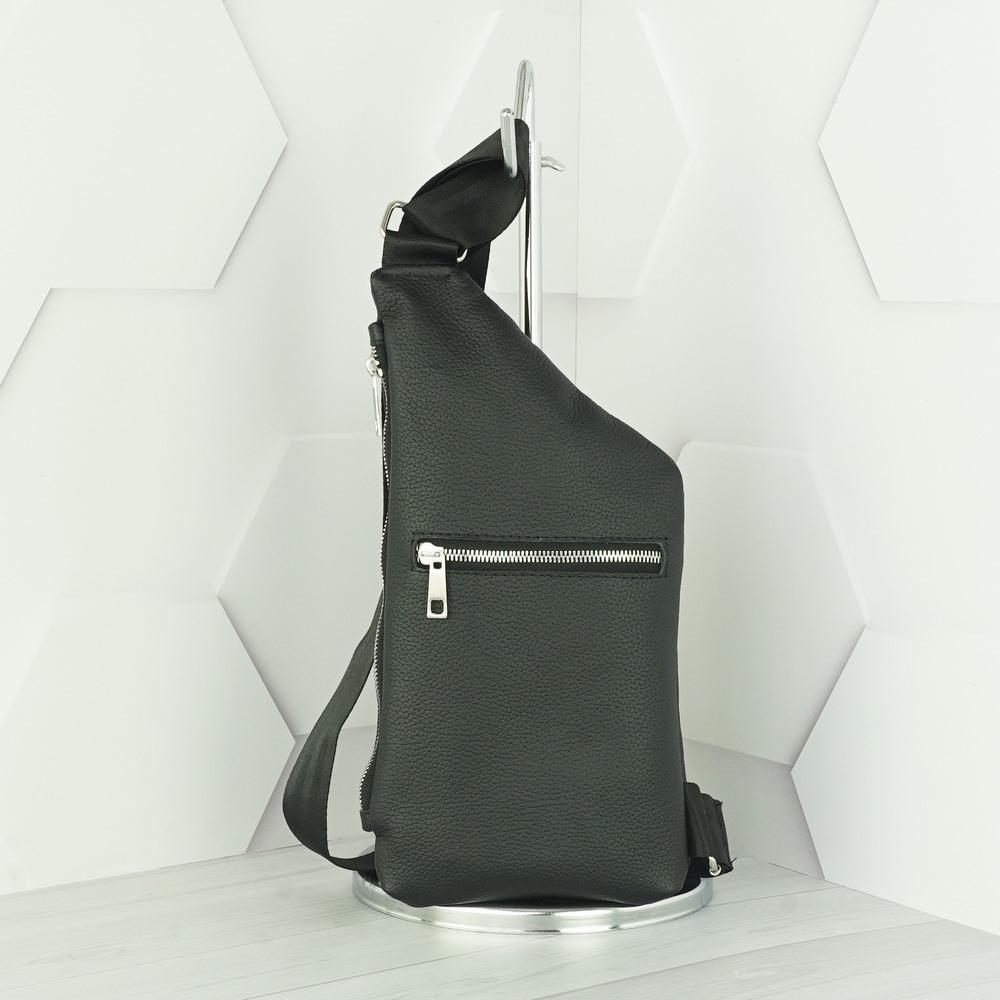 Кожаная мужская сумка рюкзак №1008 черный