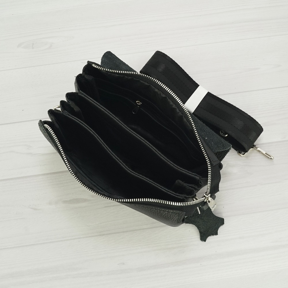 Кожаный мужской клатч №1002 черный