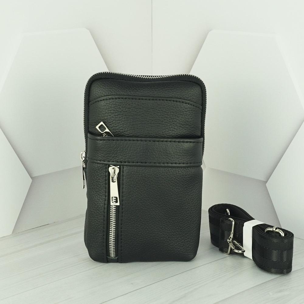Кожаная мужская сумка №1010 черная